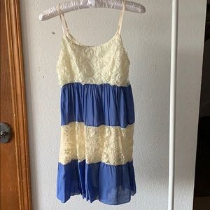 Lace Blue Tiered Adjustable Dress